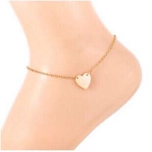 Delicate Gold Heart Chain Ankle Bracelet